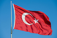 Tuerkey, turkisch flag blowing in the wind