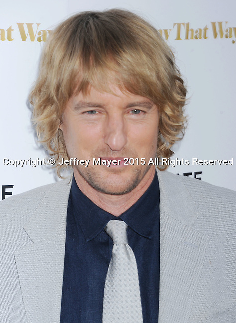 LOS ANGELES, CA - AUGUST 19: Actor Owen Wilson arrives at the Premiere Of Lionsgate Premiere's 'She's Funny That Way' at Harmony Gold on August 19, 2015 in Los Angeles, California.