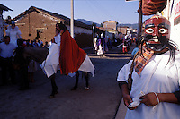 A judas asking for money.  Jesus´crucifiction is re-enacted for holy week (Semana Santa) in Erongaricuaro, Michoacan, Mexico