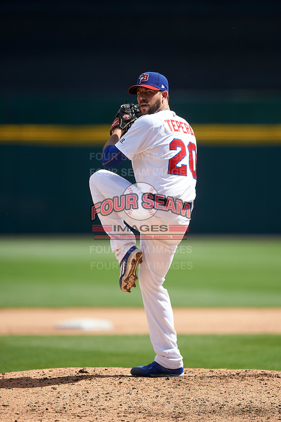 Buffalo Bisons relief pitcher Ryan Tepera (20) during a game against the Toledo Mudhens on May 18, 2016 at Coca-Cola Field in Buffalo, New York.  Buffalo defeated Toledo 7-5.  (Mike Janes/Four Seam Images)