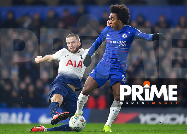 Eric Dier of Tottenham Hotspur tackles Willian of Chelsea during the Carabao Cup Semi-Final 2nd leg match between Chelsea and Tottenham Hotspur at Stamford Bridge, London, England on 24 January 2019. Photo by Vince  Mignott / PRiME Media Images.