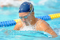 14 January 2012:  FIU's Klara Andersson competes in the 100 yard breaststroke as the FIU Golden Panthers won the meet with the Central Connecticut State University Blue Devils at the Biscayne Bay Campus Aquatics Center in Miami, Florida.