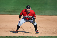 Indianapolis Indians first baseman Brent Morel (5) during a game against the Rochester Red Wings on June 10, 2015 at Frontier Field in Rochester, New York.  Indianapolis defeated Rochester 5-3.  (Mike Janes/Four Seam Images)