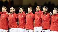 Wales' Sam Cross with team-mates Kristian Dacey, Owen Watkin, Taulupe Faletau, Josh Navidi and Steffan Evans<br /> <br /> Photographer Simon King/CameraSport<br /> <br /> International Rugby Union - 2017 Under Armour Series Autumn Internationals - Wales v Australia - Saturday 11th November 2017 - Principality Stadium - Cardiff<br /> <br /> World Copyright &copy; 2017 CameraSport. All rights reserved. 43 Linden Ave. Countesthorpe. Leicester. England. LE8 5PG - Tel: +44 (0) 116 277 4147 - admin@camerasport.com - www.camerasport.com