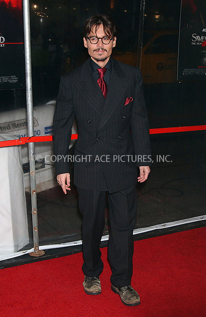 WWW.ACEPIXS.COM . . . . . ....December 3 2007, New York City....Actor Johnny Depp arriving at the New York premiere of 'Sweeney Todd The Demon Barber Of Fleet Street' at the Ziegfeld Theater....Please byline: KRISTIN CALLAHAN - ACEPIXS.COM.. . . . . . ..Ace Pictures, Inc:  ..(646) 769 0430..e-mail: info@acepixs.com..web: http://www.acepixs.com