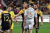 9th June 2017, Westpac Stadium, Wellington, New Zealand; Super Rugby; Hurricanes versus Chiefs;  Chiefs' Michael Allardice and Hurricanes players Brad Shields and Callum Gibbins involved in an altercation