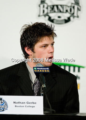 Nate Gerbe (BC 9) takes part in a press conference following the game. The Boston College Eagles defeated the Boston University Terriers 4-3 in overtime in their first Monday Beanpot matchup on February 4, 2008 at the TD Banknorth Garden in Boston, Massachusetts.