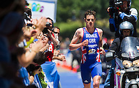 02 JUN 2013 - MADRID, ESP - Jonathan Brownlee (GBR) of Great Britain leads the run at the men's ITU 2013 World Triathlon Series round in Casa de Campo, Madrid, Spain <br /> (PHOTO (C) 2013 NIGEL FARROW)