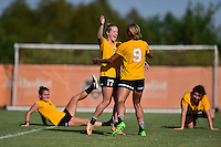 Houston, TX - Friday Oct. 07, 2016: Kristen Hamilton, Lynn Williams during training prior to the National Women's Soccer League (NWSL) Championship match between the Washington Spirit and the Western New York Flash at Houston Sports Park.