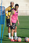 Getafe's Angel Rodriguez (r) and Deyverson Da Silva during training session. May 19,2020.(ALTERPHOTOS/Acero)