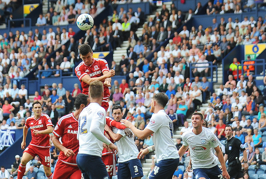 Middlesbrough's Daniel Ayala rises highest but his header doesn't hit the target<br /> <br /> Photographer Kevin Barnes/CameraSport<br /> <br /> Football - The Football League Sky Bet Championship - Preston North End v Middlesbrough -  Sunday 9th August 2015 - Deepdale - Preston<br /> <br /> &copy; CameraSport - 43 Linden Ave. Countesthorpe. Leicester. England. LE8 5PG - Tel: +44 (0) 116 277 4147 - admin@camerasport.com - www.camerasport.com