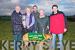 CUP: Pat Cunningham owner of the winning dog Castlemartyr Law who won the National Breeders Derby Trial Stake at Ballybeggan Coursing on Sunday been presented with the cupfrom Ena Galvin, L-r: Pat Cuinningham, Ena Galvin, Liam Fitzgerald, Patsy O'Callaghan(Trainer) and Darren Houlihan......... . ............................... ..........