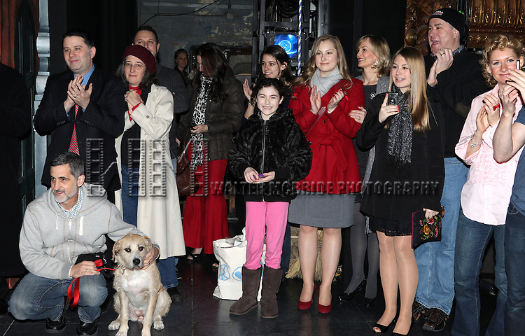 Bill Berloni & Sunny with Lilla Crawford, Merwin Foard & Company attending the Broadway Opening Night Performance  Gypsy Robe Ceremony celebrating Merwin Foard recipient  for 'Annie' at the Palace Theatre in New York City on 11/08/2012