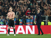 Football Soccer: UEFA Champions UEFA Champions League quarter final second leg Juventus - Ajax, Allianz Stadium, Turin, Italy, March 12, 2019. <br /> Ajax's Donny van de Beek (l) and coach Erik Ten Hag (r) celebrate after winning 2-1 the Uefa Champions League quarter final second leg against Juventus at the Allianz Stadium, on March 12, 2019.<br /> UPDATE IMAGES PRESS/Isabella Bonotto