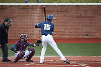 Mitch Farris (15) of the Wingate Bulldogs at bat against the Concord Mountain Lions at Ron Christopher Stadium on February 1, 2020 in Wingate, North Carolina. The Bulldogs defeated the Mountain Lions 8-0 in game one of a doubleheader. (Brian Westerholt/Four Seam Images)