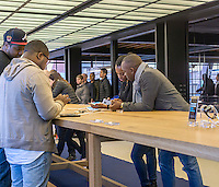 Visitors to the Samsung 837 showroom in the Meatpacking District in New York admire the Samsung Galaxy S7, seen on Saturday, February 27, 2016. The showroom in the trendy Meatpacking district does no sales but is a showcase for Samsung products. (© Richard B. Levine)