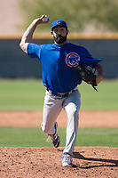 Chicago Cubs relief pitcher Jake Steffens (44) during a Minor League Spring Training game against the Los Angeles Angels at Sloan Park on March 20, 2018 in Mesa, Arizona. (Zachary Lucy/Four Seam Images)