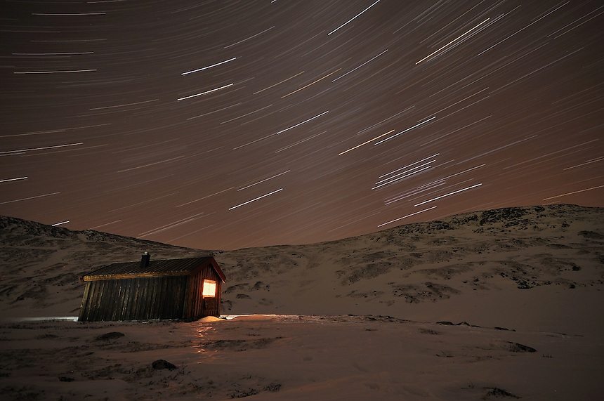 Stars over a mountain cabin Landscape, landskap,