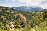 The Bridger Mountains rise to the north from a vantage point on the Chestnut Mountain trail east of Bozeman, Montana.