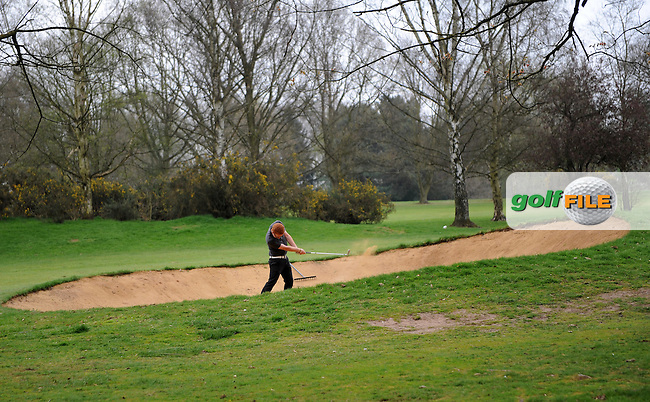 Nathan Fell hits from a bunker during the Peter McEvoy Trophy, Copt Heath Golf Club, 1220 Warwick Road, Knowle, Solihull, West Midlands, B93 9LN, England.<br /> Picture: Richard Martin Roberts / Golffile