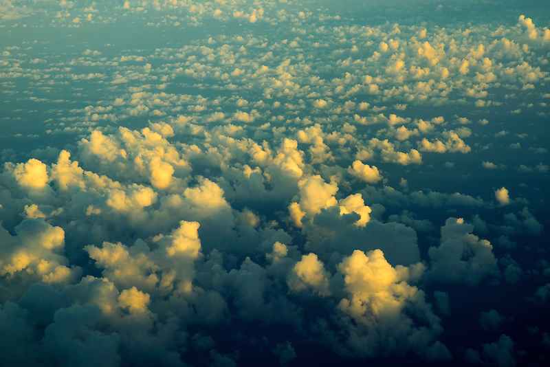 Clouds over pacific ocean from the air.