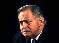 File Photo, 1995, Montreal, Quebec, Canada<br /> <br /> Jacques Parizeau, Quebec Premier and leader of the Parti Quebecois, in a 1995 file photo , in Montreal Canada<br /> <br />  <br /> Mandatory Credit: Photo by Pierre Roussel- Images Distribution. (©) Copyright 1994 by Pierre Roussel <br /> <br /> NOTE: Nikon LS-2000 scan from 35mm slide<br />  - Mulcair is now (2011) with the New Democratic Party (of Canada).