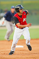 Keenyn Walker #2 of the Kannapolis Intimidators takes off for third base against the Asheville Tourists at Fieldcrest Cannon Stadium on July 28, 2011 in Kannapolis, North Carolina.  The Intimidators defeated the Tourists 2-1 in 10 innings.   (Brian Westerholt / Four Seam Images)
