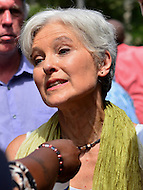 Philadelphia, PA - July 26, 2016: Green Party candidate Dr. Jill Stein speaks to members of the media after addressing a Bernie or Bust rally in Philadelphia, PA, July 26, 2016, during the Democratic National Convention.  (Photo by Don Baxter/Media Images International)
