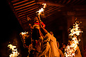 Japanese fire ceremony at Takisanji Demon Festival