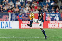 FOXBOROUGH, MA - SEPTEMBER 21: Cristian Penilla #70 of New England Revolution collects a pass during a game between Real Salt Lake and New England Revolution at Gillette Stadium on September 21, 2019 in Foxborough, Massachusetts.