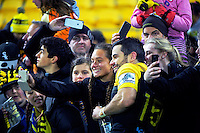 Fans take selfies after the Super Rugby semifinal match between the Hurricanes and Chiefs at Westpac Stadium, Wellington, New Zealand on Saturday, 30 July 2016. Photo: Dave Lintott / lintottphoto.co.nz