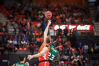 VALENCIA, SPAIN - OCTOBER 18: Sergi Vidal, Drame and Sikma during ENDESA LEAGUE match between Valencia Basket Club and FIATC Joventut at Fonteta Stadium on October 18, 2015 in Valencia, Spain