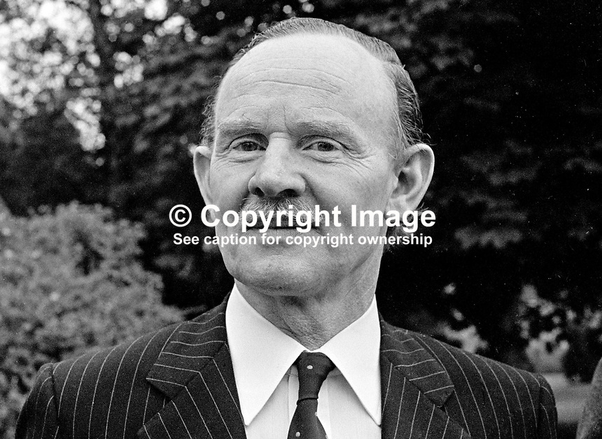 Chief Constable of the RUC, James Flanagan, better known as Jamie Flanagan, in the grounds of Police Headquarters, Belfast, N Ireland. James Flanagan was the RUC's only Roman Catholic chief constable. 1973000585b<br />