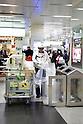 Osaka, JP - January 21, 2015 : A cleaner changes the trash bags at Shin Osaka station. (Photo by Rodrigo Reyes Marin/AFLO)