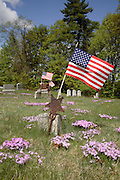 American flag in New England graveyard during the spring months.