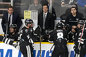 Nate Leaman (PC - Head Coach), Kasper Björkqvist (PC - 20), Niko Rufo (PC - 11), Kris Mayotte (PC - Assistant Coach), Ryan Tait (PC - 8), ?, Bryan Lemos (PC - 24) - The Harvard University Crimson defeated the Providence College Friars 3-0 in their NCAA East regional semi-final on Friday, March 24, 2017, at Dunkin' Donuts Center in Providence, Rhode Island.