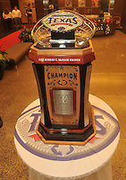 NWA Media/Michael Woods --12/29/2014-- w @NWAMICHAELW...The Texas Bowl trophy sits in the lobby at NRG Stadium in Houston as the Razorbacks get ready to play the Longhorns Monday night in the Texas Bowl.