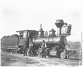 RGS 2-8-0 #12 with crew.  Engineer is Bill Sowers, fireman is Sam Davis.<br /> RGS  Ridgway, CO  Taken by Carlson, Emil - 1902