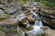 Middle Ammonoosuc Falls on the Ammonoosuc River in Crawfords Purchase, New Hampshire USA during the summer months.