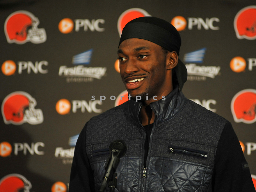 CLEVELAND, OH - AUGUST 18, 2016: Quarterback Robert Griffin III #10 of the Cleveland Browns answers questions during a press conference after a preseason game on August 18, 2016 against the Atlanta Falcons at FirstEnergy Stadium in Cleveland, Ohio. Atlanta won 24-13. (Photo by: 2016 Nick Cammett/Diamond Images) *** Local Caption *** Robert Griffin III