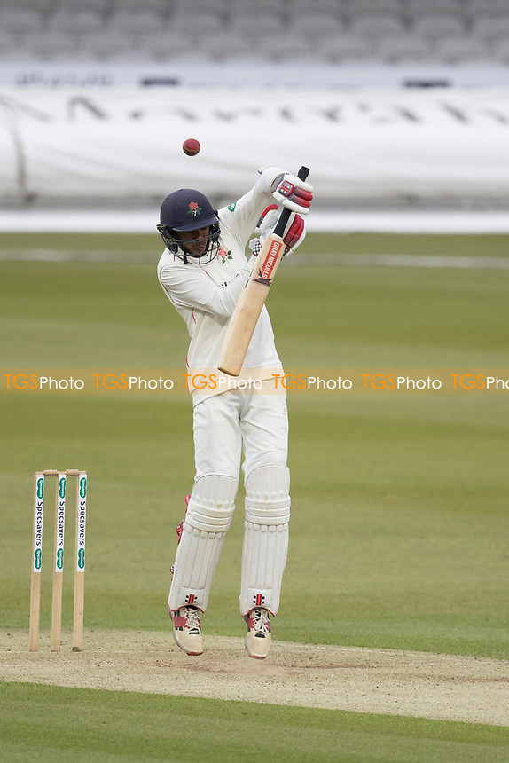 Haseeb Hameed of Lancashire CCC is suprised by a short delivery, during Middlesex CCC vs Lancashire CCC, Specsavers County Championship Division 2 Cricket at Lord's Cricket Ground on 12th April 2019
