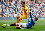 14.09.2019 Rangers v Livingston: Andy Halliday and Keaghan Jacobs