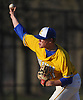 Michael Laskowski #41, Kellenberg pitcher, throws in the top of the seventh inning of a Nassau-Suffolk CHSAA varsity baseball game against St. John the Baptist at Eisenhower Park on Tuesday, April 18, 2017. He entered the game with two outs, two men on and Kellenberg up 6-2 in the top of the sixth inning. He held Baptist scoreless and picked up a save as Kellenberg won by that same score.