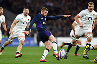 Finn Russell of Scotland puts boot to ball. Guinness Six Nations match between England and Scotland on March 16, 2019 at Twickenham Stadium in London, England. Photo by: Patrick Khachfe / Onside Images
