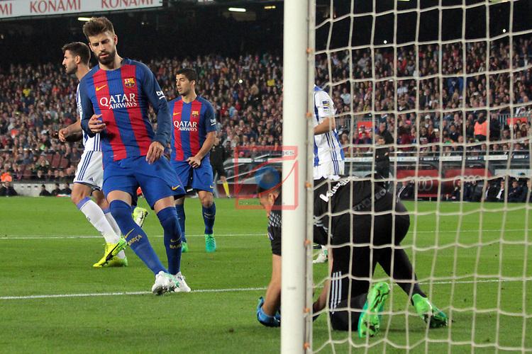 League Santander 2016/2017. Game: 32.<br /> FC Barcelona vs Real Sociedad: 3-2.<br /> Gerard Pique &amp; Rulli.