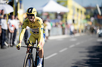 yellow jersey / GC leader Julian Alaphilippe (FRA/Deceuninck - Quick-Step) rolling over the finish line<br /> <br /> Stage 13 (ITT): Pau to Pau (27km)<br /> 106th Tour de France 2019 (2.UWT)<br /> <br /> ©kramon