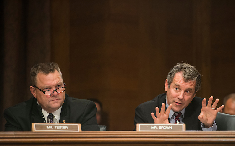 "UNITED STATES - OCTOBER 10: From left, Sen. Jon Tester, D-Mont., listens as Sen. Sherrod Brown, D-Ohio, speaks during the Senate Banking, Housing and Urban Affairs Committee hearing on ""Impact of a Default on Financial Stability and Economic Growth"" on Thursday, Oct. 10, 2013. (Photo By Bill Clark/CQ Roll Call)"