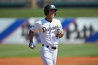 Stuart Fairchild (4) of the Wake Forest Demon Deacons jogs towards home plate after hitting a home run against the Miami Hurricanes in Game Nine of the 2017 ACC Baseball Championship at Louisville Slugger Field on May 26, 2017 in Louisville, Kentucky. The Hurricanes defeated the Demon Deacons 5-2. (Brian Westerholt/Four Seam Images)