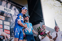 5-time Fl&egrave;che-winner Alejandro Valverde (ESP/Movistar team) congratulating today's winner Julian Alaphilippe (FRA/Quick Step Floors) on the podium<br /> <br /> 82nd Fl&egrave;che Wallonne 2018 (1.UWT)<br /> 1 Day Race: Seraing - Huy (198km)
