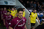 The two teams coming out of the tunnel at Gayfield Park before Arbroath hosted Edinburgh City (in yellow) in an SPFL League 2 fixture. The newly-promoted side from the Capital were looking to secure their place in SPFL League 2 after promotion from the Lowland League the previous season. They won the match 1-0 with an injury time goal watched by 775 spectators to keep them 4 points clear of bottom spot with three further games to play.